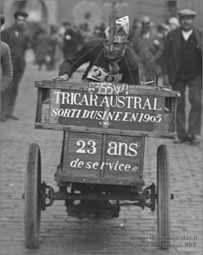Gohier sur tricar Austral, 1928