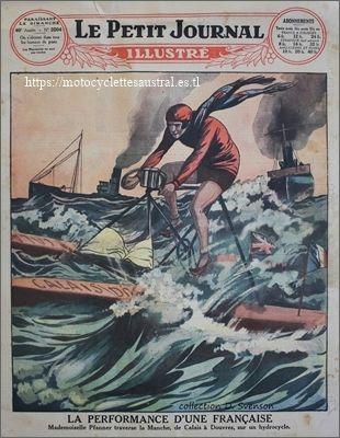 """Aimée Pfanner traverse la manche en hydrocycle. Dessin au verso du """"Petit Journal"""" 1929"""