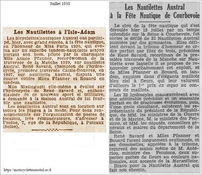 fêtes nautiques Asnière Courbevoie juillet 1930 Nautilette, Savard, Pfanner article de presse