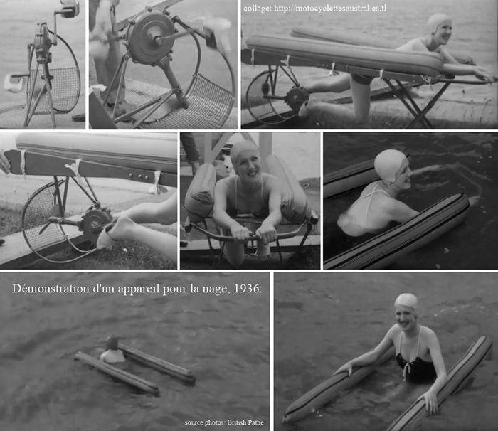 présentation d'un appareil pour la nage en 1936