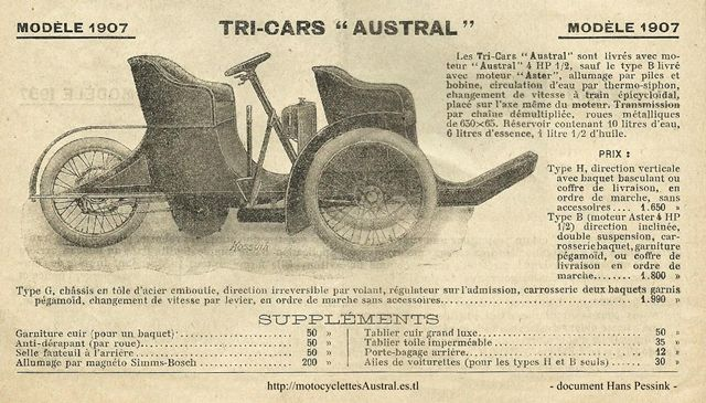 Austral Tricar type G 1907 catalogue