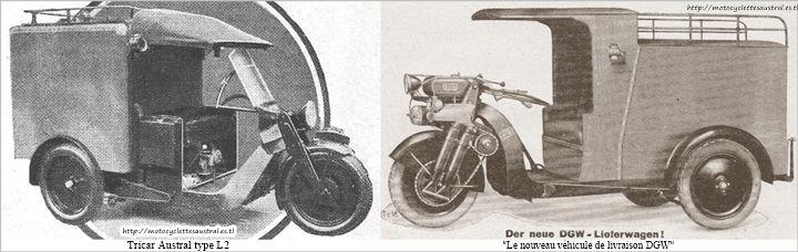 tricar Austral type L2 et véhicule de livraison allemand DGW