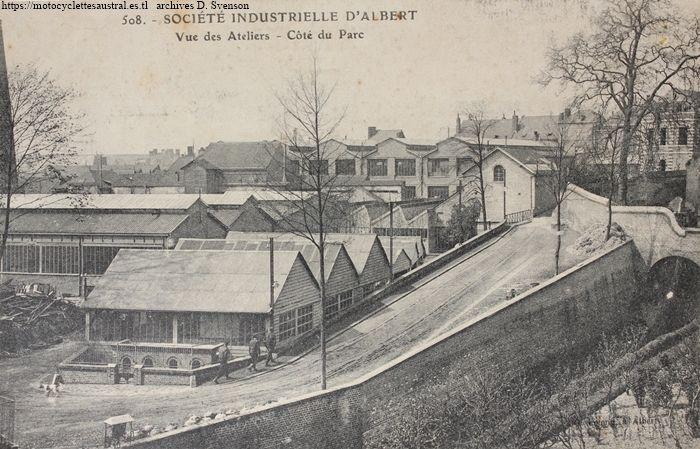 usine de la Société Industrielle d'Albert. côté jardin public, bâtiments