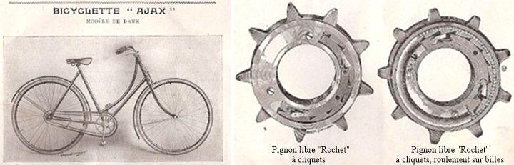 bicyclette Ajax et pignon libre Rochet