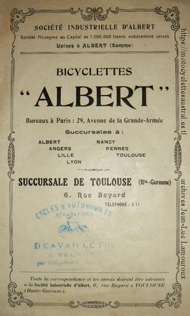 cycles Albert (Albert, Somme), catalogue 1914