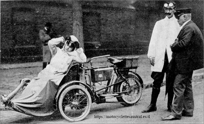 Albert Jean et son fils avec le tricar Austral, concours des tricars 1905