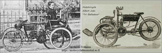 Le tricar Albert Jean. Photo et dessin publicitaire