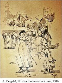 Albert Édouard Puyplat, dessin en encre chine, 1907