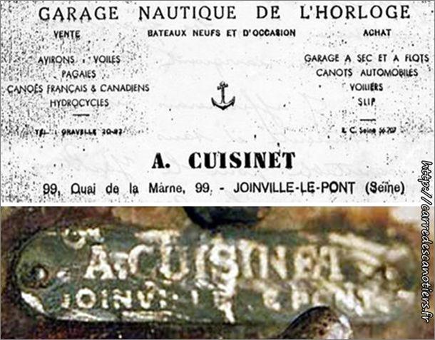 Alfred Cuisinet, carte de visite et plaque de constructeur d'un youyou