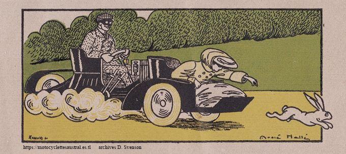Dessin humoristique d'André Hellé, 1907, avec un tricar Austral type G