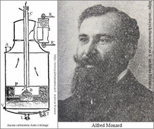 Carburateur Aster à léchage. Portrait de Alfred Monard