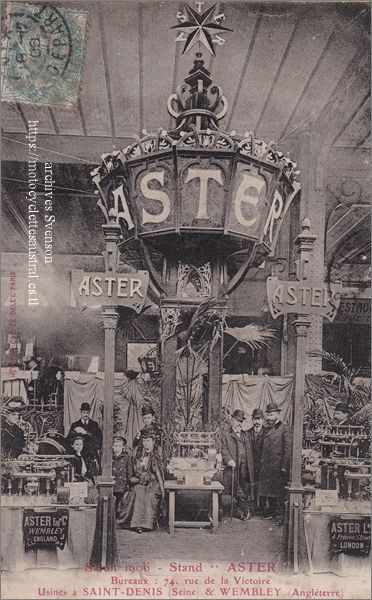 moteurs L'Aster, stand au Salon Automobile de Paris en 1906