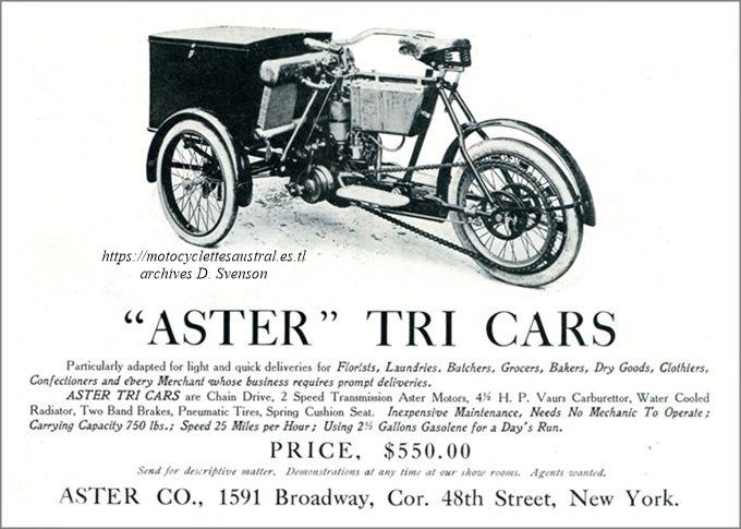 """encart publicitaire """"Aster Tricars"""" USA 1906"""