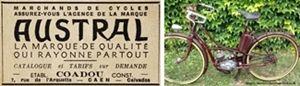 Austral 1950 publicité de Marcel Coadou à Caen et cyclomoteur à moteur Le Poulain