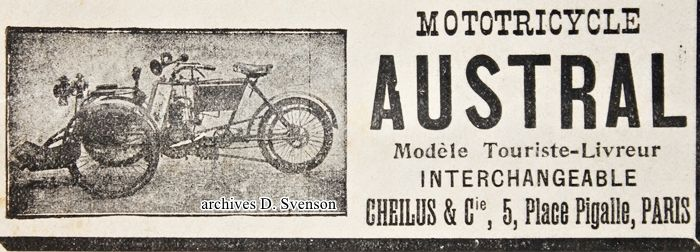 tricar Austral, modèle Touriste-Livreur interchangeable, publicité 1904 Cheilus et Cie, 5 place Pigalle