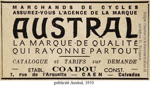 publicité Austral, Coadou à Caen, 1950