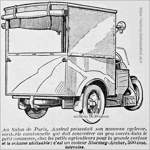 Austral camionnette de livraison à trois roues, 1930, moteur Sturmey Archer, dessin