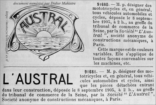 Austral, marque déposée en 1905