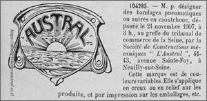 Austral, dépôt de marque, 1907