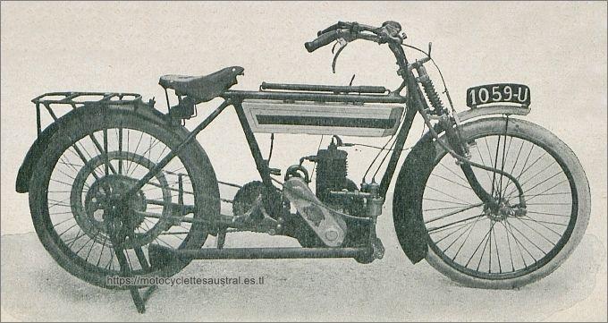 La motocyclette Austral type B de 1914 à transmission par chaîne