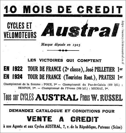 publicité Austral 1924 qui évoque quelques courses cyclistes remportées