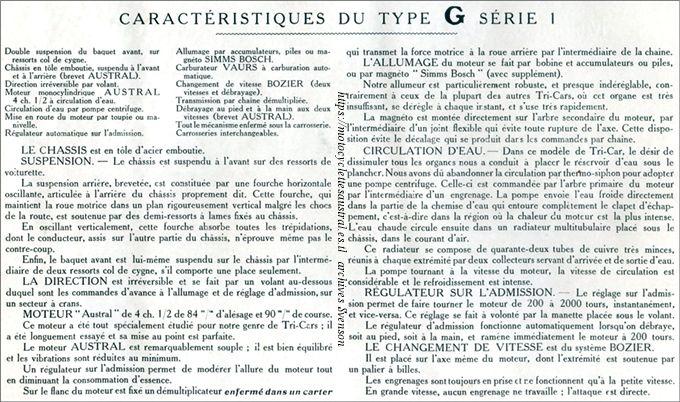 caractérisitques du type G série 1, texte isssu du catalogue 1907