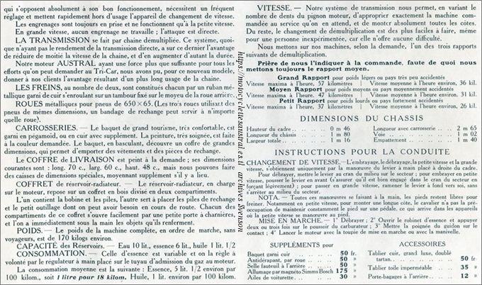 caractérisitques du type H série 1, texte isssu du catalogue 1907
