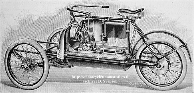 tricar Austral à transmission par arbre et moteur Austral