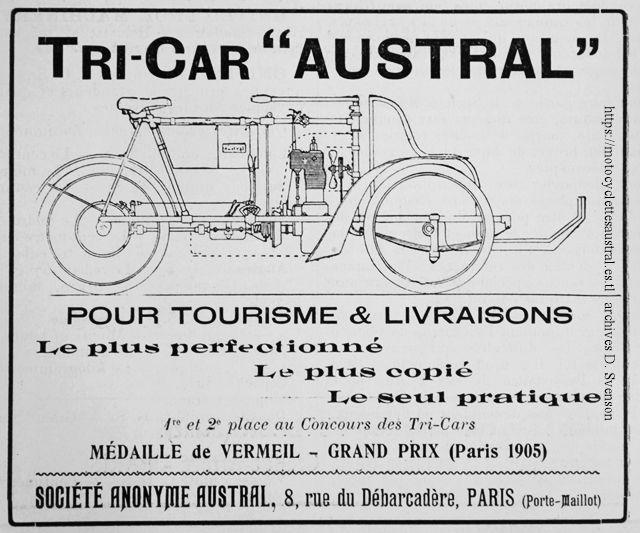 publicité pour le tricar Austral á transmission par cardan