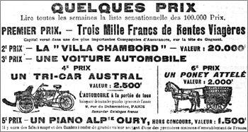 concours Chambord 4ième prix un tri-car L'Austral