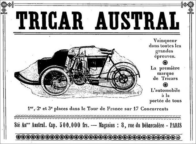Tricar Austral type B-1, publicité de 1907