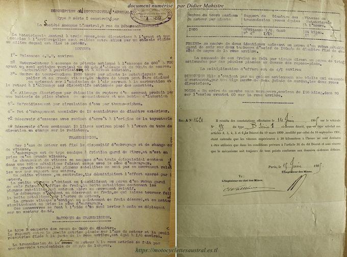 Dossier des Mines, tricar Austral type B série 1