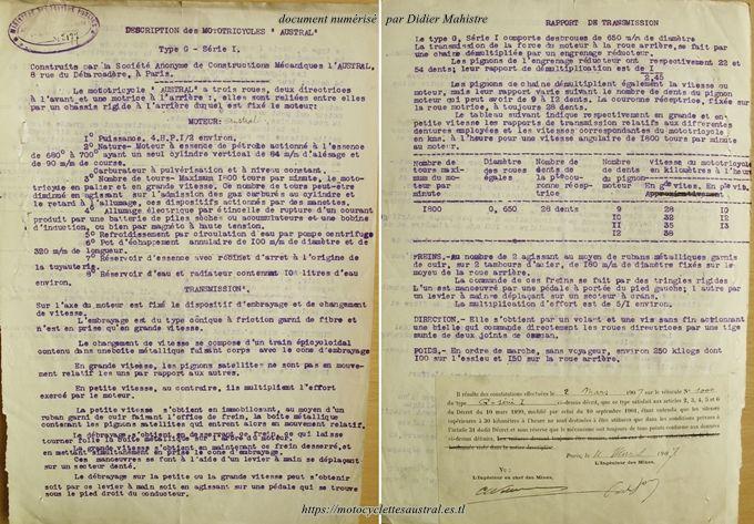 Dossier des Mines, tricar Austral type G série 1
