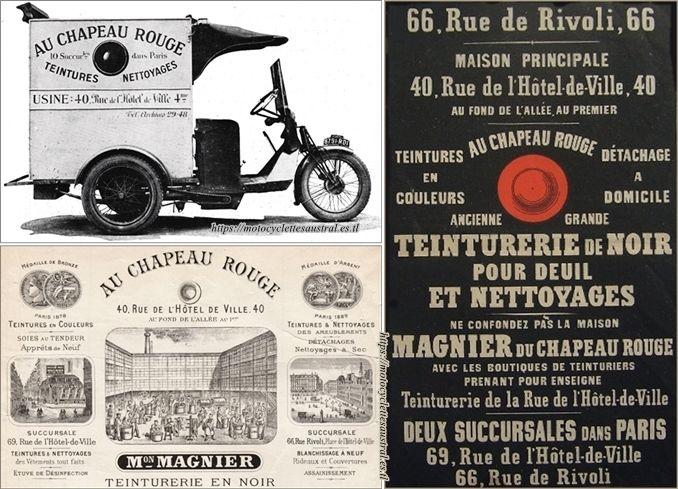 """triporteur Austral de la teinturerie """"Au Chapeau Rouge"""", maison Magnier, Paris"""