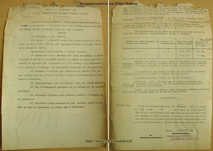 Dossier des Mines, tricar Austral type A
