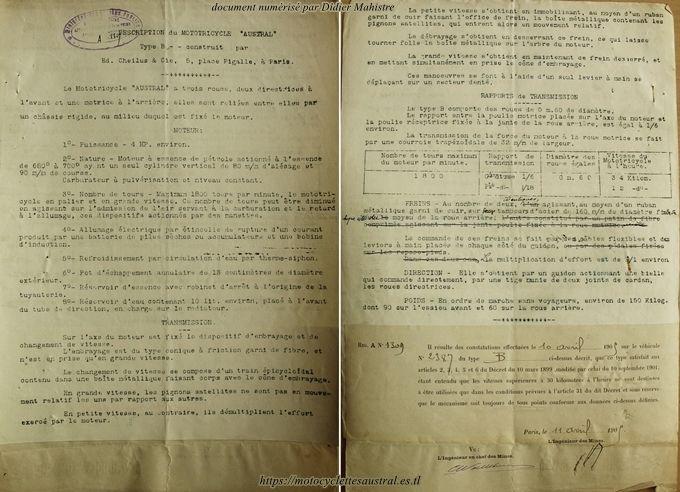 Austral tricar type B, document descriptif pour le service des mines, 1905