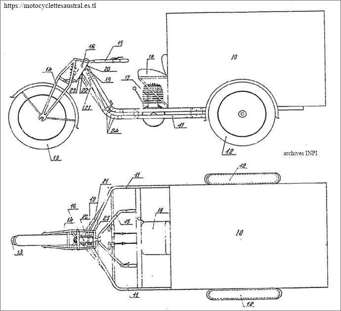 châssis et tube de direction de la camionnette Austral type L1