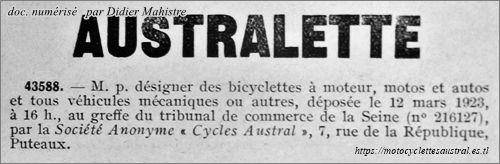 Australette, marque déposée en 1923