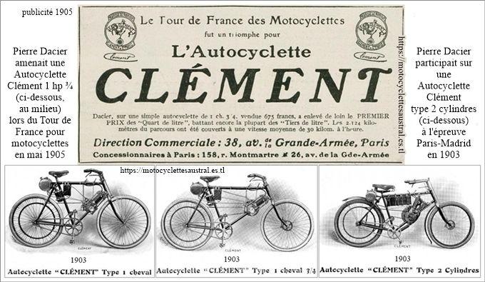 Autocyclette Clement, modèles 1903 et publicité 1905