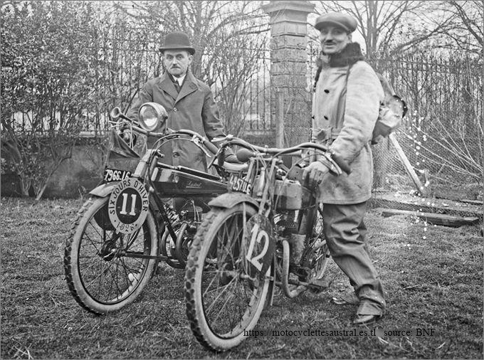 Dacier et Cheret avec des motos Austral en 1926