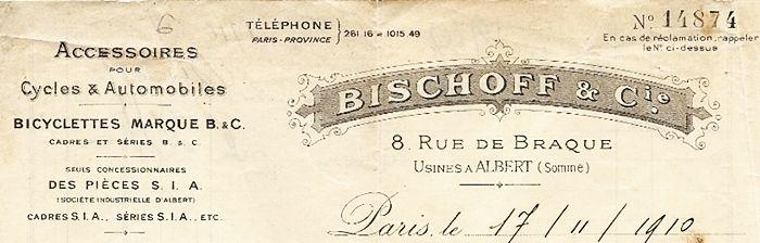 publicité cycles Bischoff, bicyclettes marque B.C. pièces SIA, usines à Albert