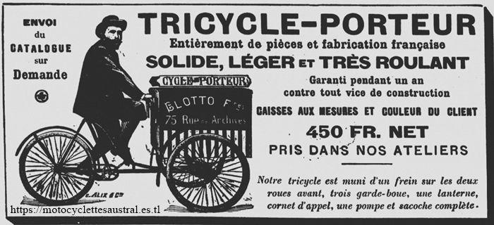 triporteur Blotto, 1900