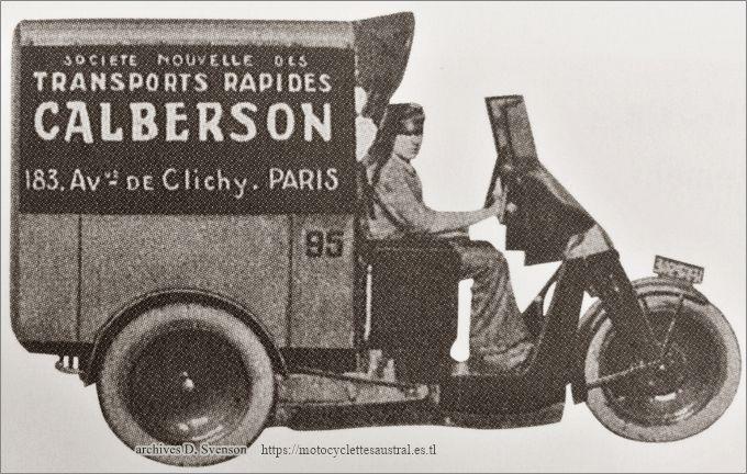 un triporteur Austral type L de la Société Nouvelle des Transports Rapides Calberson