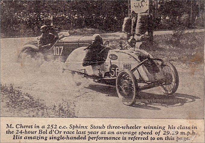 1931 Etienne Chéret dans le Sphinx-Staub cyclecar