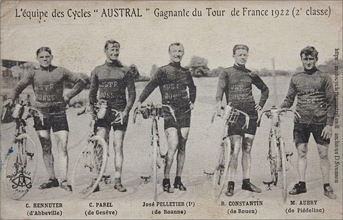 L'équipe des cycles Austral, Gagnante du Tour de France 1922. Hennuyer, Parel, Pelletier, Constantin, Aubry