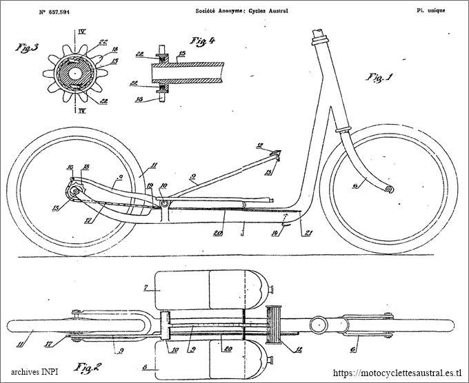 patinette Austral, dessin du brevet 1928