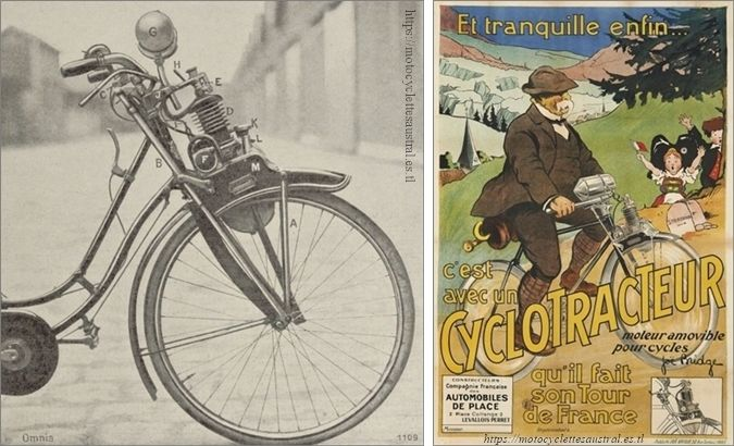 bicyclette à moteur Cyclotracteur, photo et affiche