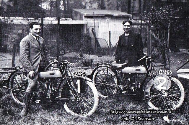Etienne Cheret et Raoul Pegulu de Rovin 1924 avec des motos Rovin