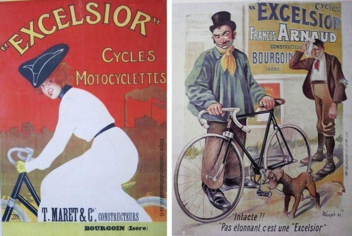 deux affiches cycles Excelsior, Bourgoin, Isère. T. Maret et Francis Arnaud