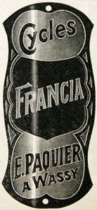 plaque de cadre cycles Francia, E. Paquier à Wassy